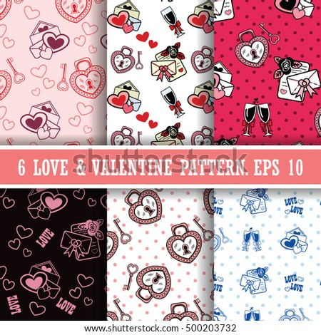 Vector illustration. Set of 6 seamless pattern with love letters, hearts and wineglasses.