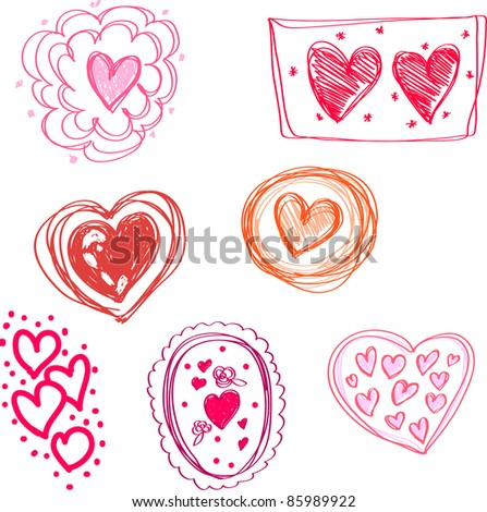 vector illustration set of seven lovely icons