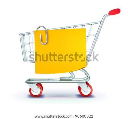 Vector illustration set of shopping concept with shopping cart and yellow paper note list