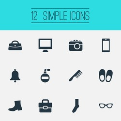 Vector Illustration Set Of Simple Accessories Icons. Elements Monitor, Foot Textile, Ring And Other Synonyms Soft, Phone And Diplomat.