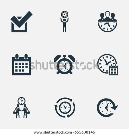 Vector Illustration Set Of Simple Administration Icons. Elements Approve, Clock, Progress And Other Synonyms Administrator, Speed And Approve.