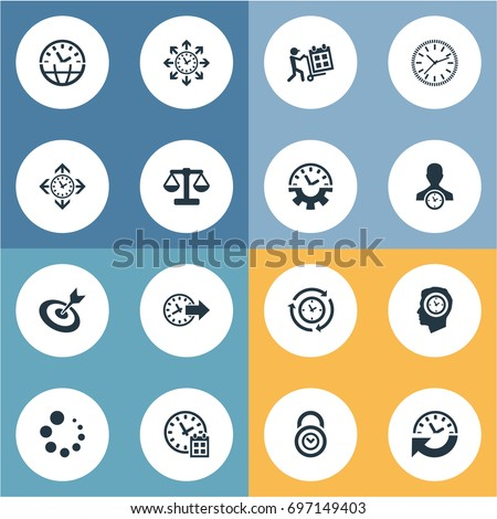 Vector Illustration Set Of Simple Administration Icons. Elements Redirect, Delivery, Interval And Other Synonyms Coordination, Redirect And Calendar.