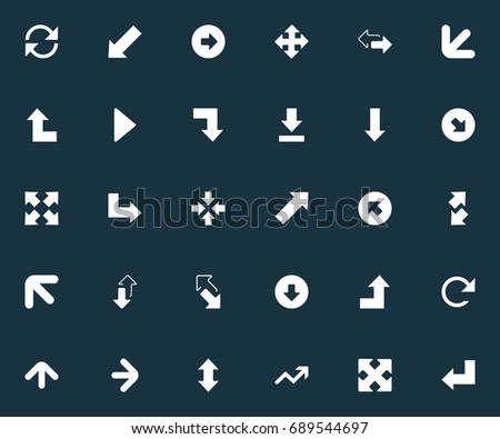 Vector Illustration Set Of Simple Arrows Icons. Elements Circular, Within, Advancement And Other Synonyms Outward, Down Left Pointing And Downward.