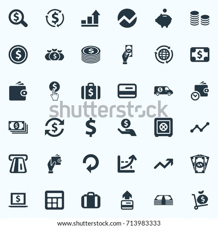 Vector Illustration Set Of Simple Banking Icons. Elements Interest, Exchange, Finance And Other Synonyms Atm, Trade And Laptop.
