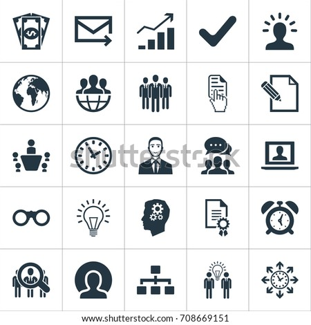 Vector Illustration Set Of Simple Brainstorming Icons. Elements Group, Labtop, Cash And Other Synonyms Structure, Binocular And Gear.
