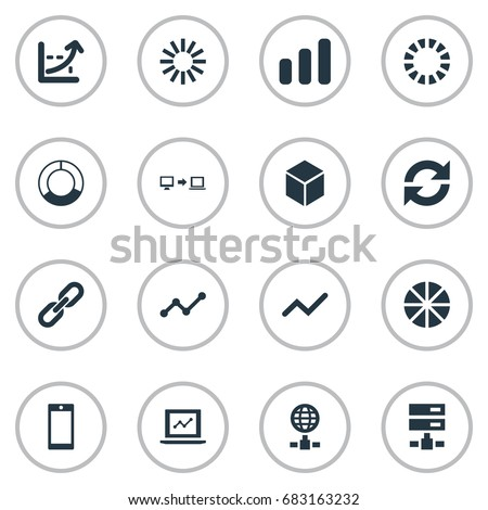 Vector Illustration Set Of Simple Business Icons. Elements Presentation, Hosting, Preloader And Other Synonyms Spread, Cellphone And Sending.