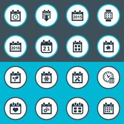Vector Illustration Set Of Simple Calendar Icons. Elements 2016 Calendar, Date Block, Plant And Other Synonyms Hour, Snowflake And Calendar.