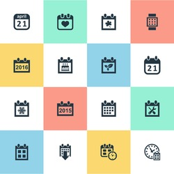 Vector Illustration Set Of Simple Calendar Icons. Elements 2016 Calendar, Heart, Date And Other Synonyms Reminder, Winter And Watch.