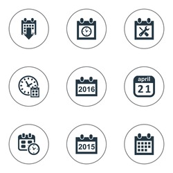 Vector Illustration Set Of Simple Calendar Icons. Elements Deadline, Renovation Tools, Planner And Other Synonyms Deadline, Time And Agenda.
