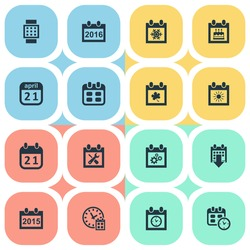 Vector Illustration Set Of Simple Calendar Icons. Elements Snowflake, Summer Calendar, Planner And Other Synonyms Smart, Event And Remembrance.