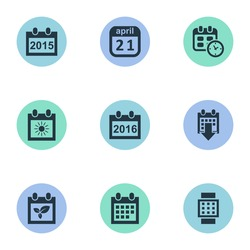 Vector Illustration Set Of Simple Date Icons. Elements Annual, Remembrance, Date And Other Synonyms Day, Spring And Agenda.