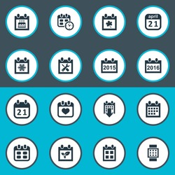 Vector Illustration Set Of Simple Date Icons. Elements Date Block, Special Day, Leaf And Other Synonyms Calendar, Hour And Autumn.