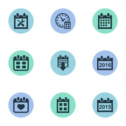 Vector Illustration Set Of Simple Date Icons. Elements Event, Annual, Heart And Other Synonyms Heart, Annual And Time.