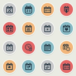 Vector Illustration Set Of Simple Date Icons. Elements Renovation Tools, Deadline, Summer Calendar And Other Synonyms Clock, Wheel And Agenda.