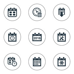 Vector Illustration Set Of Simple Date Icons. Elements Snowflake, 2016 Calendar, Event And Other Synonyms Agenda, Time And Block.