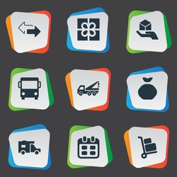 Vector Illustration Set Of Simple Delivery Icons. Elements Day, Autobus, Caravan And Other Synonyms Road, Truck And Pouch.