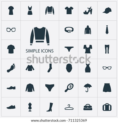 Vector Illustration Set Of Simple Dress Icons. Elements Luggage, Casual, Exercise Foorwear And Other Synonyms Bald, Glass And String.
