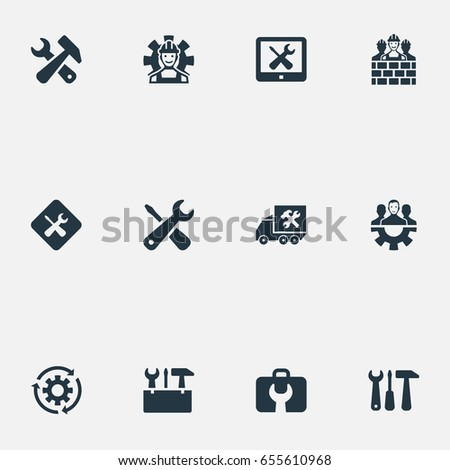 Vector Illustration Set Of Simple Fixing Icons. Elements Builder Team, Construction, Staff And Other Synonyms Toolkit, Monitor And Workman.