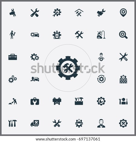 Vector Illustration Set Of Simple Fixing Icons. Elements Refit, Toolbox, Workman And Other Synonyms Van, Toolkit And Caution.