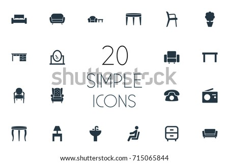 Vector Illustration Set Of Simple Furniture Icons. Elements Sofa, Bench, Contemporary Design And Other Synonyms Divan, Looking-Glass And Furniture.