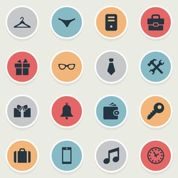 Vector Illustration Set Of Simple  Icons. Elements Briefcase, System Unit, Music And Other Synonyms Handbag, Clothes And Phone.