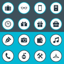 Vector Illustration Set Of Simple  Icons. Elements Business Bag, System Unit, Time And Other Synonyms Suitcase, Giveaways And Ink.