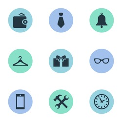 Vector Illustration Set Of Simple  Icons. Elements Time, Repair, Billfold And Other Synonyms Cravat, Spectacles And Hanger.