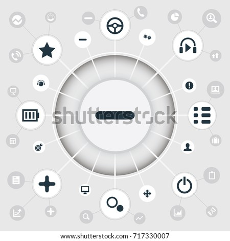 Vector Illustration Set Of Simple Leisure Icons. Elements Display, Sound, Gambling And Other Synonyms Screen, Options And Exclamation.