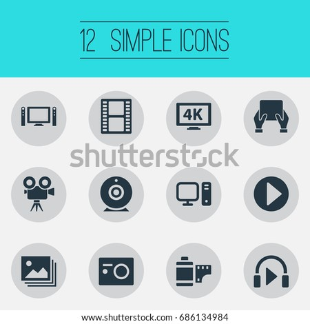 Vector Illustration Set Of Simple Media Icons. Elements Entertainment, Ultra Display, Image And Other Synonyms Tv, Television And Loudspeaker.