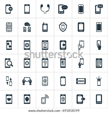 Vector Illustration Set Of Simple Mobile Icons. Elements Synchronization, Hearing, Missing Ring And Other Synonyms Communication, Technology And Incoming.