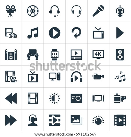 Vector Illustration Set Of Simple Multimedia Icons. Elements Earmuff, Home Theater, Reel And Other Synonyms Regulation, Shine And Crotchets.