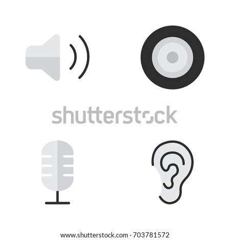 Vector Illustration Set Of Simple Music Icons. Elements Listen, Loudspeaker, Loudness And Other Synonyms Make, Listen And Sound.
