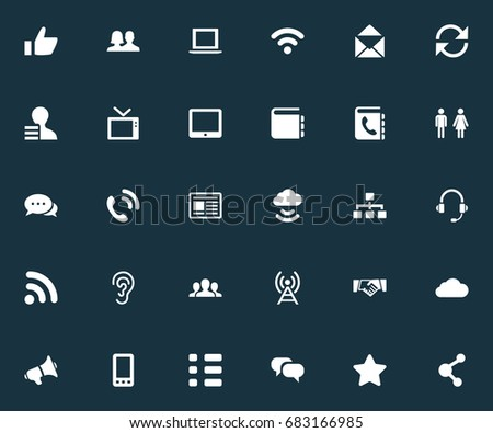 Vector Illustration Set Of Simple Network Icons. Elements Headphone, Partnership, Update And Other Synonyms Audition, Check And Resume.
