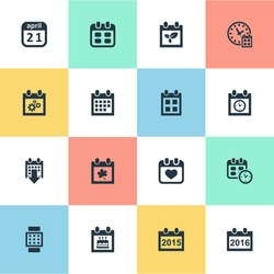 Vector Illustration Set Of Simple Plan Icons. Elements Date Block, Leaf, 2016 Calendar And Other Synonyms Time, Block And Heart.