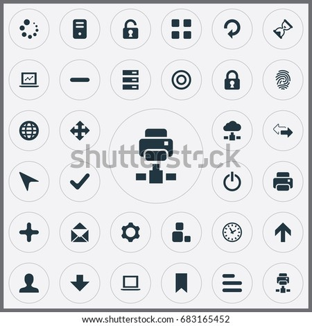 Vector Illustration Set Of Simple Practice Icons. Elements Cursor, Lock, Contrast And Other Synonyms Target, Check And Select.