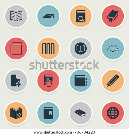Vector Illustration Set Of Simple Reading Icons. Elements Pen, Literature, Academic Cap And Other Synonyms Cap, Plus And Hanging.