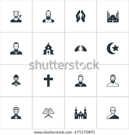 Vector Illustration Set Of Simple Religion Icons. Elements Cleric, Chaplain, Temple And Other Synonyms Chapel, Book And Orison.
