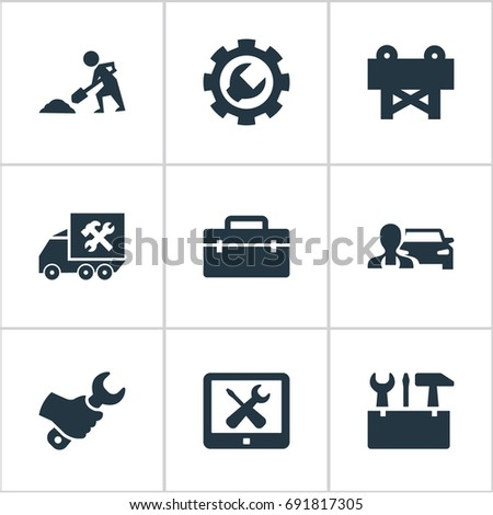Vector Illustration Set Of Simple Repairing Icons. Elements Refit, Van, Toolkit And Other Synonyms Setting, Van And Monitor.