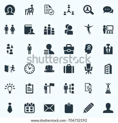 Vector Illustration Set Of Simple Resources Icons. Elements Conversation, Luggage, International Trade And Other Synonyms Cooperation, Eraser And Teamwork.