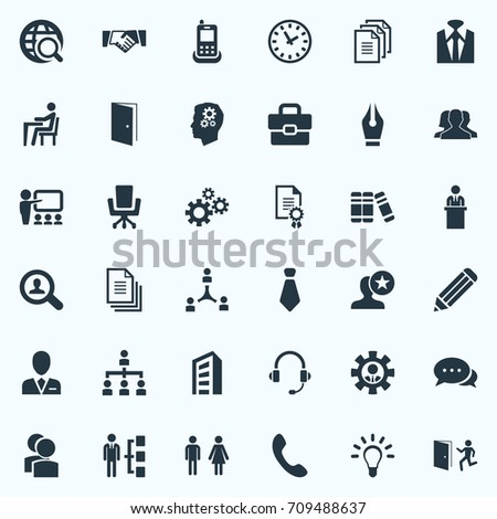 Vector Illustration Set Of Simple Resources Icons. Elements Files, Creativity, Conversation And Other Synonyms Gear, Case And Briefcase.