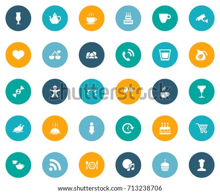 Vector Illustration Set Of Simple Restaurant Icons. Elements Compact Disc, Surveillance, Parents And Other Synonyms Pot, Tray And Table. #713238706