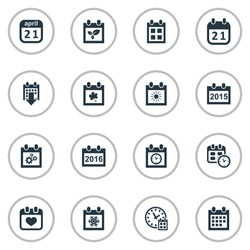 Vector Illustration Set Of Simple Time Icons. Elements Agenda, Leaf, Reminder And Other Synonyms Gear, Almanac And Spring.