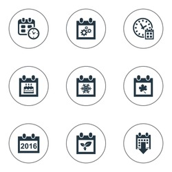 Vector Illustration Set Of Simple Time Icons. Elements Deadline, Date, 2016 Calendar And Other Synonyms Time, Calendar And Birthday.