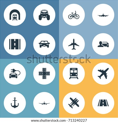 Vector Illustration Set Of Simple Transport Icons. Elements Aeroplane, Automobilist, Intersection And Other Synonyms Auto, Bike And Jet. Stockfoto ©