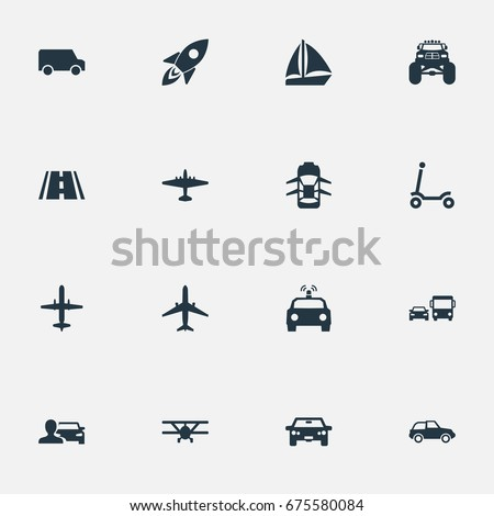 Vector Illustration Set Of Simple Transport Icons. Elements Automobilist, Spaceship, Aero And Other Synonyms Cop, Airbus And Mini. Stockfoto ©