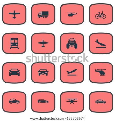 Vector Illustration Set Of Simple Transport Icons. Elements Cab, Airliner, Motor Lorry And Other Synonyms Departure, Cab And Chopper.