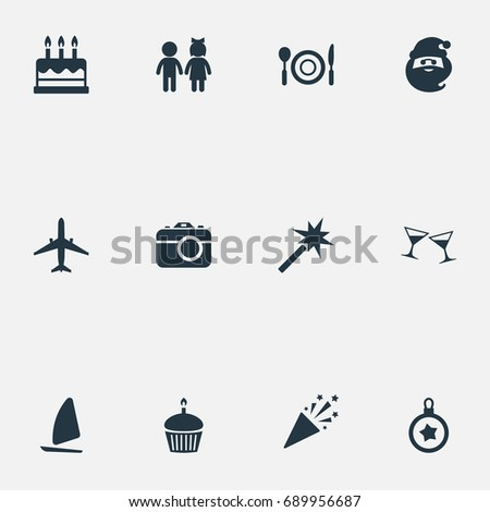 Vector Illustration Set Of Simple Vacation Icons. Elements Photo Camera, Entertainment, Yachting And Other Synonyms Anniversary, Cupcake And Spell.