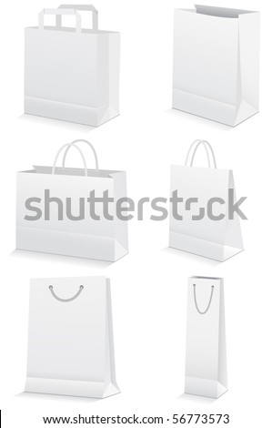 Vector illustration set of six paper shopping or grocery bags. All vector objects and details are isolated and grouped. Bag colors and transparent background are easy to adjust.
