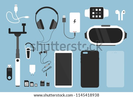Vector illustration set of smartphone and accessories for it. Phone with case, charger, headphones and protective glass, cover and other things for smartphone in flat cartoon style.