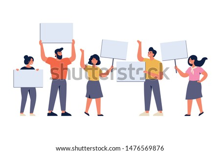 Vector illustration set of smiling young men and women holding clean placards. People characters demonstrating empty banners